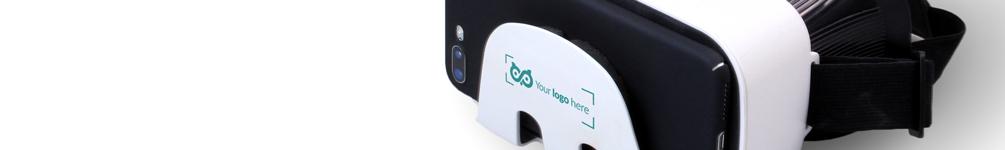 VR Brille mit Slogan