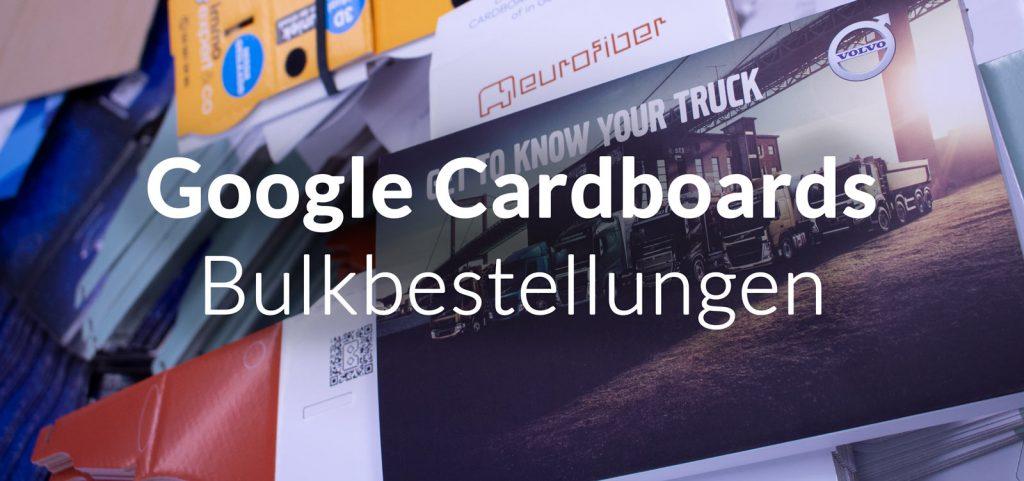 Großbestellungen Google Cardboards bedruckt